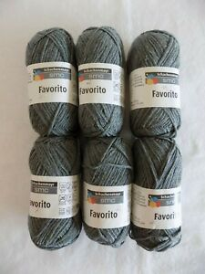 Color-92-Gray-Schachenmayr-SMC-Favorito-Lot-of-6-1-75-oz-115-yds-total-690-yds