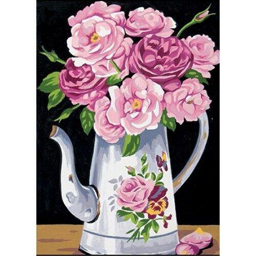 fils coton broderie couture aiguille Kit canevas pichet roses toile coton