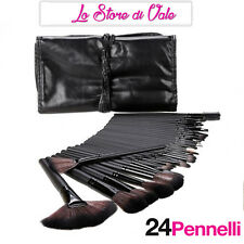 Offerta Set Professionale 24 Pennelli Make up Trucco +Custodia di Pelle Kit 24
