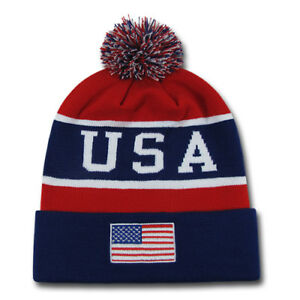 Patriotic USA Flag Beanies Toboggan American Team Colors Winter Caps Hats