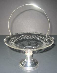Antique-Compote-basket-Crystal-amp-Weighted-Sterling-Silver-with-handle-Dish-Tray