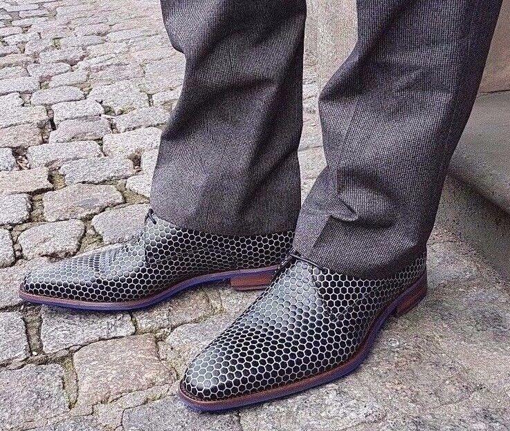 Floris van borla zapato bajo 18036 00 p0751 negro blanco Print Echt Leder nuevo