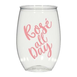 be95811d0ac Details about 16oz personalized stemless wine glass, wedding cups, rose all  day, plastic cups