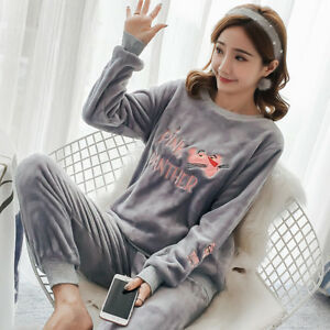 799f50a7f Image is loading Cute-Women-Winter-Coral-Fleece-Pajama-Sets-Comfortable-
