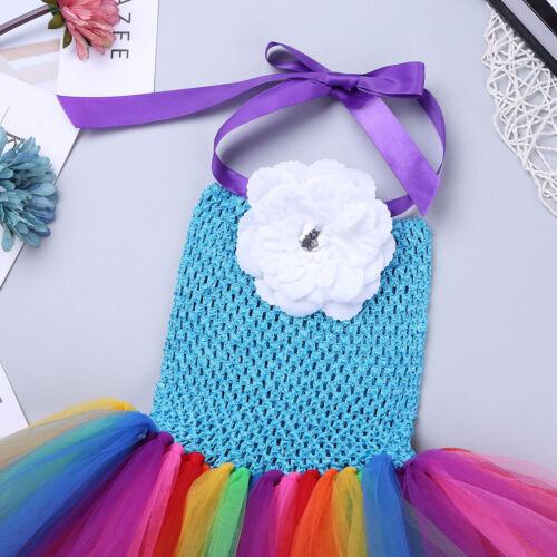 Kids Girls Children Fancy Dress Rainbow Tutu Skirt Cosplay Costume Party Dressup