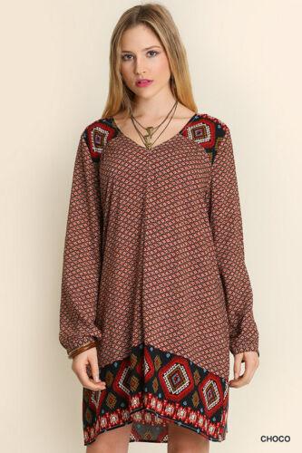 New Umgee Choco Print Peasant Dress A2148