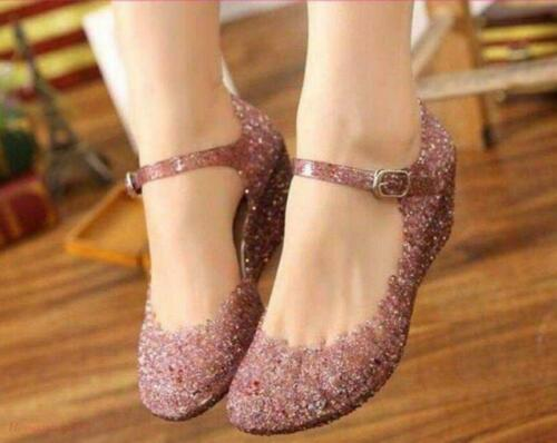 Womens Mary Janes Hollow Out Crystal Jelly Ankle Strap Wedge Heel Sandals Shoes