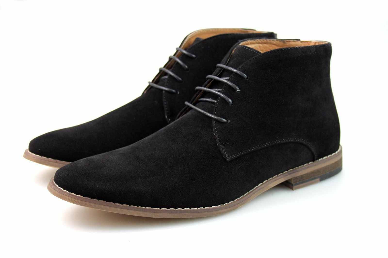 Mens Black Chukka Desert Boots Faux Suede Chelsea Winter Lace Up All Sizes