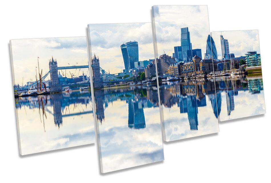 London City Skyline Reflection CANVAS WALL ART Four Panel Print