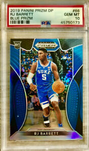 2019-20-Panini-RJ-Barrett-Silver-Prizm-Blue-Rookie-Card-RC-PSA-10-Gem-MT-Knicks