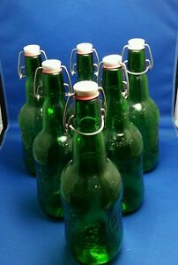 6 Grolsch Beer Bottles Swing Top Glass Reusable Home Brew Syrup
