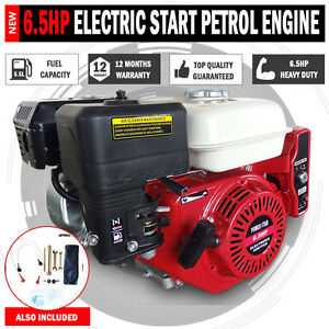 Details about Electric Start 6 5HP OHV Stationary Petrol Engine Horizontal  Shaft 1 Year Warrnt