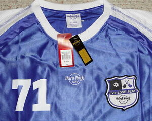 Hard-Rock-Cafe-034-LIVE-LOVE-PLAY-SOCCER-034-Blue-JERSEY-SHIRT-XL-New-Tags-Int-039-l-Flags