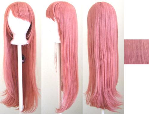 32/'/' Long Straight Long Bangs Coral Pink Cosplay Wig NEW