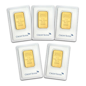 Bank Wire Payment. 1 oz Gold Bar Credit Suisse In Assay - Lot of 5