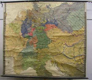Map Of Germany 1815.Schulwandkarte Wall Map School Map Germany 1815 1914 Reincarnation