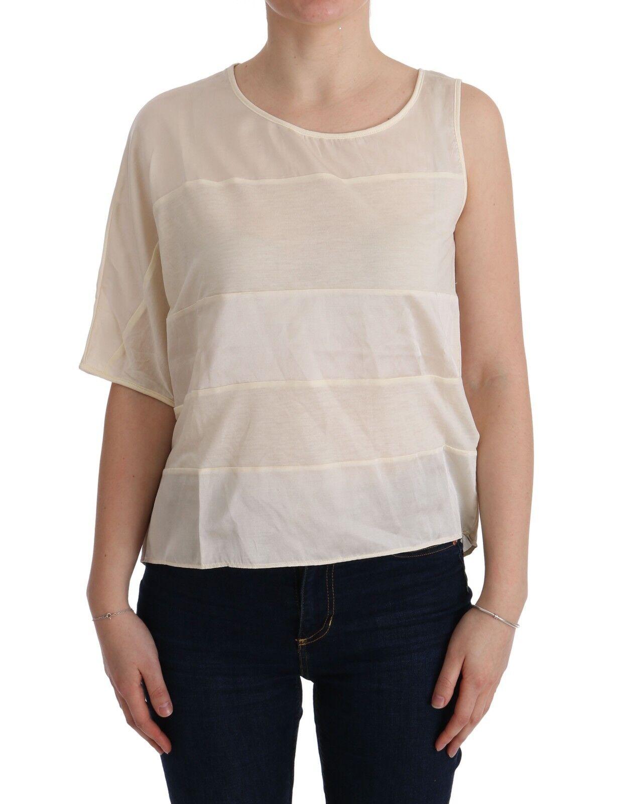 NUOVO C E C CoSTUME NATIONAL Beige asimmetrico t-shirt top camicetta S.2XS   us0