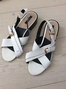 b27c0cc1438d Image is loading Zara-WHITE-PASTEL-Criss-cross-Slingback-Strappy-Sandal-