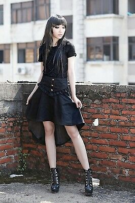 Pentagramme Asymmetric high waist skirt with gold shield buttons Gothic J030081