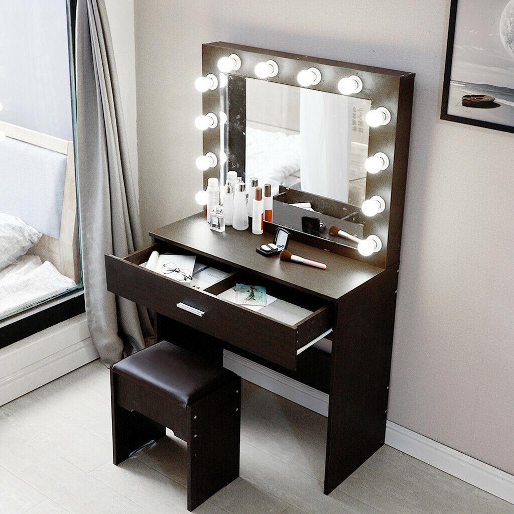 Makeup Vanity Dressing Table Set Dresser Desk With 12 Led Light Hollywood Mirror For Sale Online Ebay