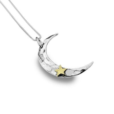Crescent Moon And Star Pendant Sterling Silver 925 Hallmark All Chain Lengths Hohe Belastbarkeit
