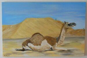"""""""CAMEL"""" acrylique image de l'artiste Hilde tution Art Painting-afficher le titre d`origine"""