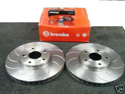 Front Grooved Brake Discs and Mintex Pads to fit Honda Civic 2.0 Type R