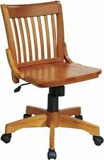 Solid Wood Office Desk Chair Light Finish Rolling Chair With Casters