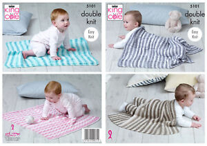 King Cole Baby Double Knitting Pattern Easy Knit Square ...