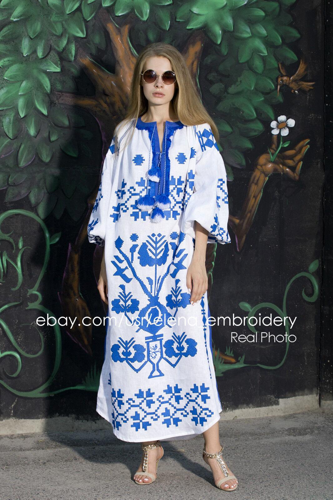 28f9c133d275af Vita Kin Ukrainian style embroidered women dress Linen vyshyvanka tunic  Bohemian