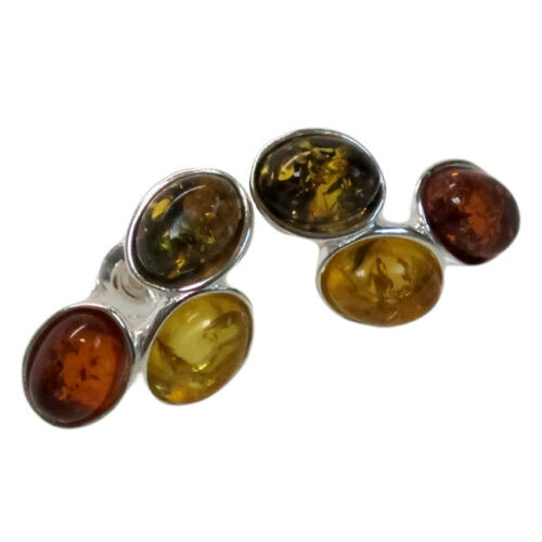 Adorable authentique Multi Color Baltique Ambre Argent Sterling 925 Boucles D/'oreilles