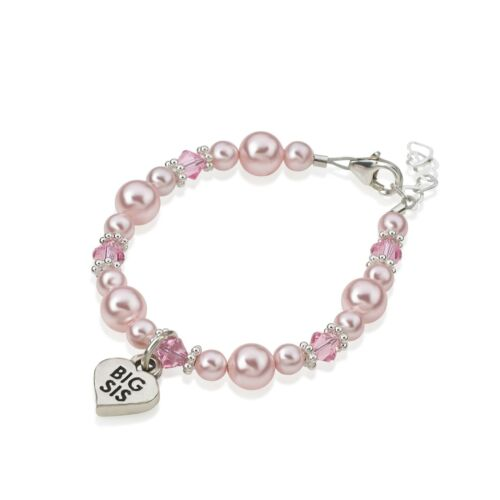 Baby Bracelet with Silver BIG SIS Heart Charm and Swarovski Pink Pearls