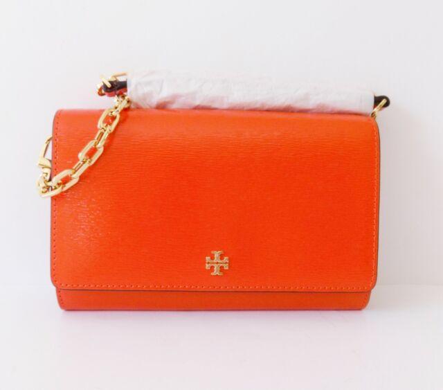ec0a35c0cc80 NWT Tory Burch Robinson Patent Chain wallet   Crossbody Bag ~ Spicy Orange