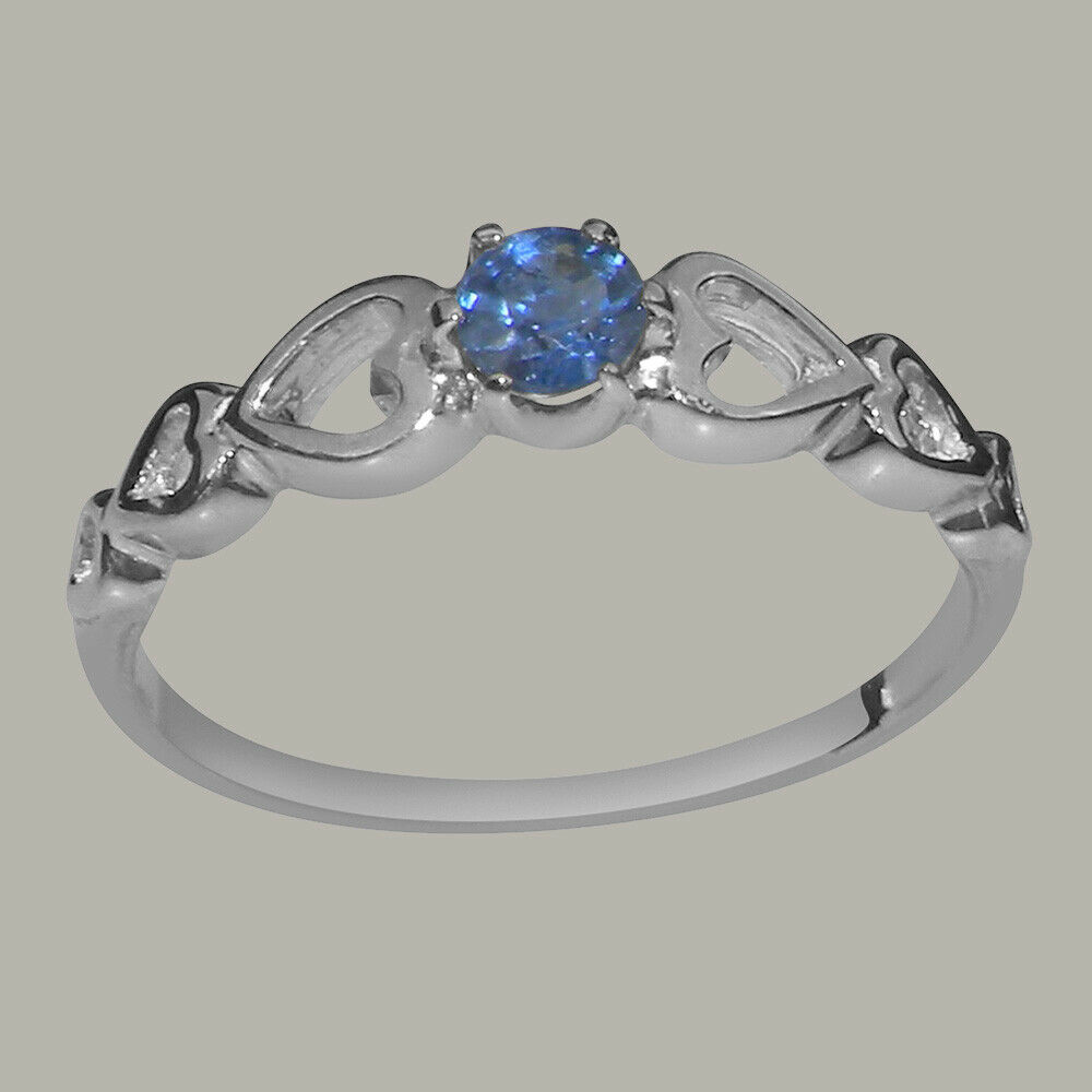 Solid 18k White gold Natural Sapphire Womens Solitaire Ring - Sizes 4 to 12