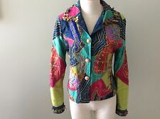 Anage Cotton Silk Jacket S Women's Fringe Rhinestone Buttons Sequins Beads