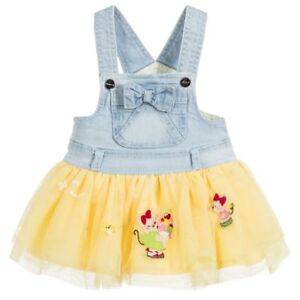7e0e0bce3552 Image is loading MAYORAL-Yellow-Denim-Pinafore-Tutu-Dress-Overalls-Blue-