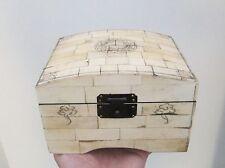 Inusual Marineros Scrimshaw estilo abovedado Caja-Náutica brújula Decoración Para Tapa