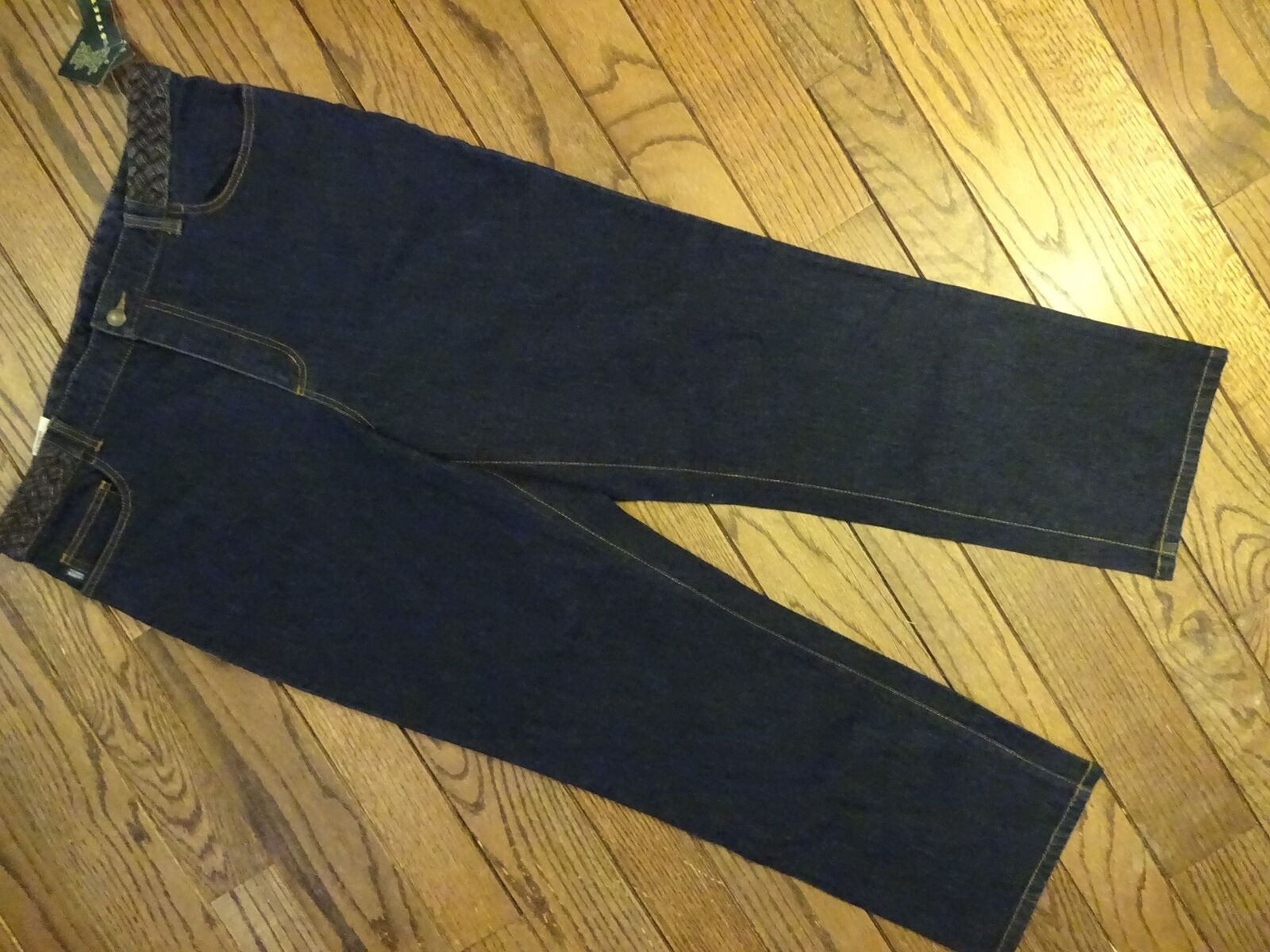 New   Ralph Lauren Stretch Jeans With Braided Waist     Size 16