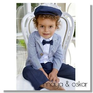 6425c644b2cc Baby Boys Navy Outfit Formal Smart Set Wedding Suit Christening ...