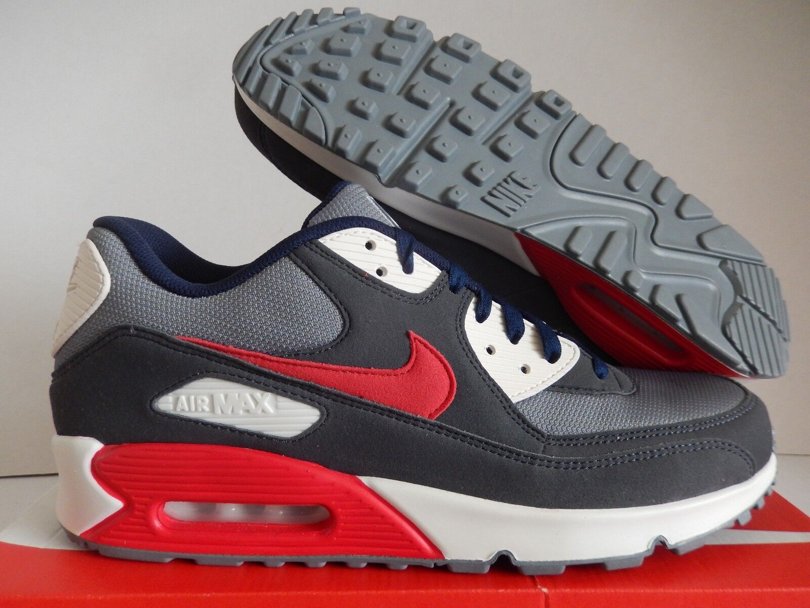 NIKE AIR MAX 90 ID DARK GREY-WHITE-NAVY BLUE-RED Price reduction Cheap and beautiful fashion