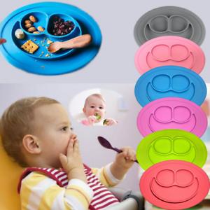 Silikon-Baby-Kinder-Teller-Rutschfest-Tischset-Geschirr-Unterteilt-3-Platten-Neu