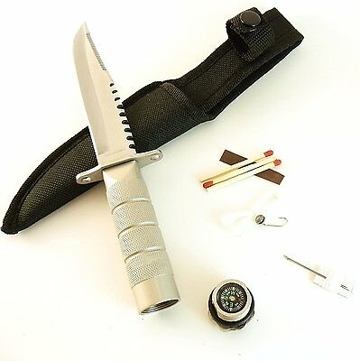 "Silver Blade Survival Knife 8 1/2"" Compass Handle Kit"
