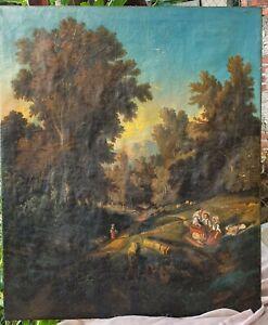 Huile-sur-toile-XIX-eme-siecle-signe-BLANCHARD-paysage-sous-bois-anime
