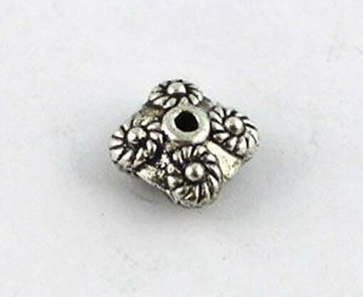 50 Tibetan silver flower square spacer beads T8792