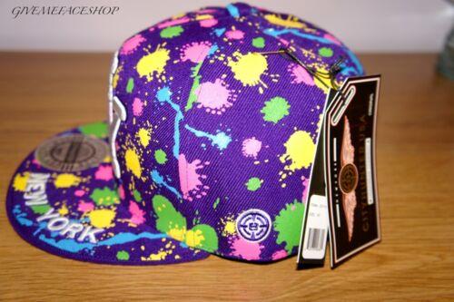 hiphop Baseball Tesa Viola VERNICE Bling Piatto Picco Cappello NY Splash MONTATO TAPPO