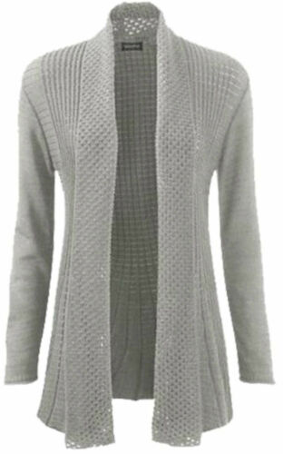New Womens Ladies Plus Size Knitted Waterfall Boyfriend Long Cardigan 8 to 26
