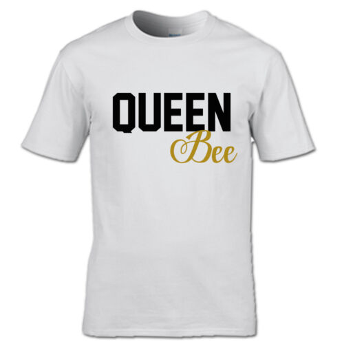 QUEEN BEE AND BABY BEE T-SHIRT SET MOTHER DAUGHTER FAMILY MUM KIDS BLACK WHITE