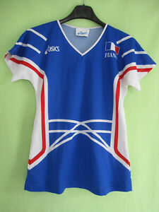Maillot-Equipe-de-France-Volley-Ball-Femme-Asics-Bleu-Vintage-L