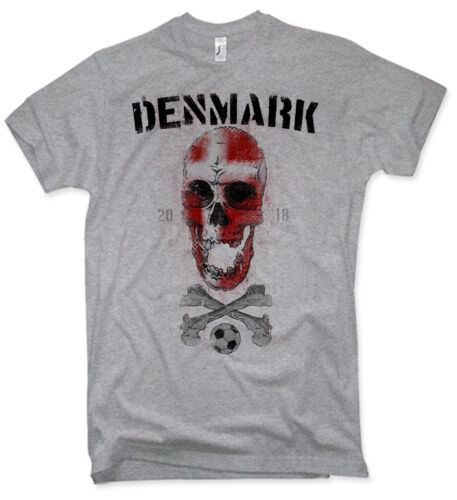 T-Shirt Men/'s Denmark Skull World Cup 2018 Football Fan Denmark S-5XL