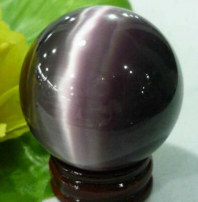 Rare Natural Quartz Purple Cat Eye Crystal Healing Ball Sphere 40mm +Stand